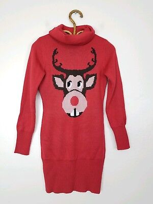 Tipsy Elves Rudolph Turtleneck Ugly Holiday Christmas Sweater Red Womens Size XS for sale  Shipping to Canada