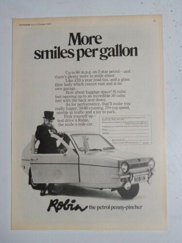 1974 RELIANT ROBIN MORE SMILES PER GALLON BRITISH MAGAZINE ADVERTISEMENT