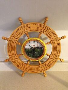 "Hand Crafted Ships Wheel Crib Board With Clock, 19.5"" In Dia"