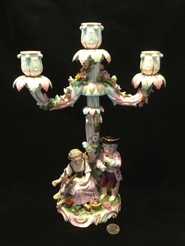 Antique Meissen German Roccoco Style Figure Candelabra-Crossed Swords Mark *3194