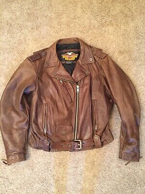 Women's Harley Davidson Brown Leather Jacket for sale  Shipping to India