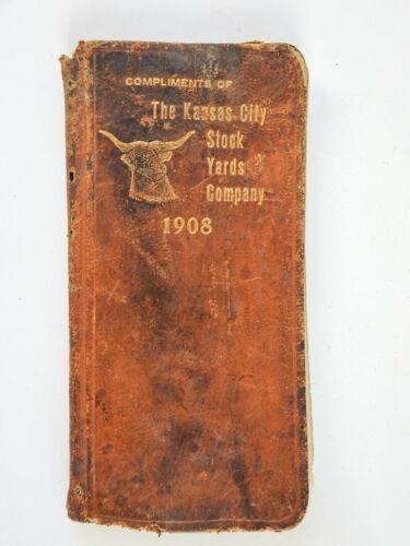 1908  Vintage Leather Note Book Kansas City Stock Yards Stockyards Bull