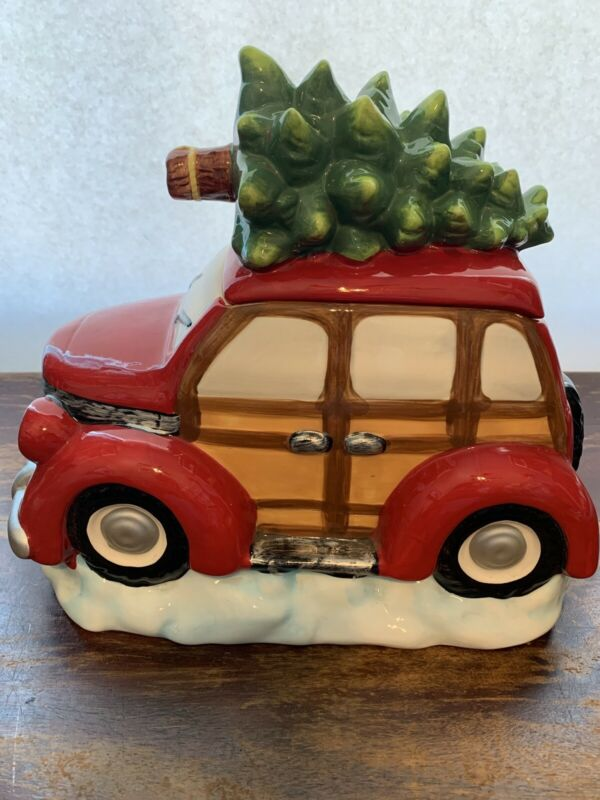 Cookie Jar Red Station Wagon W Wood Paneling Christmas Tree On Roof