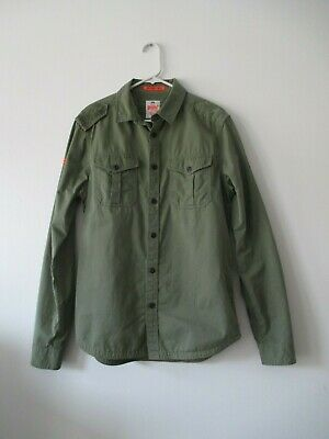 Men's SUPER DRY The Rookie Twill Green JPN Military Button Down Slim Shirt M