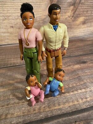 Fisher Price Loving Family Dollhouse African American  Dad Mom baby boy/girl