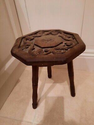 Antique Vintage carved milking stool