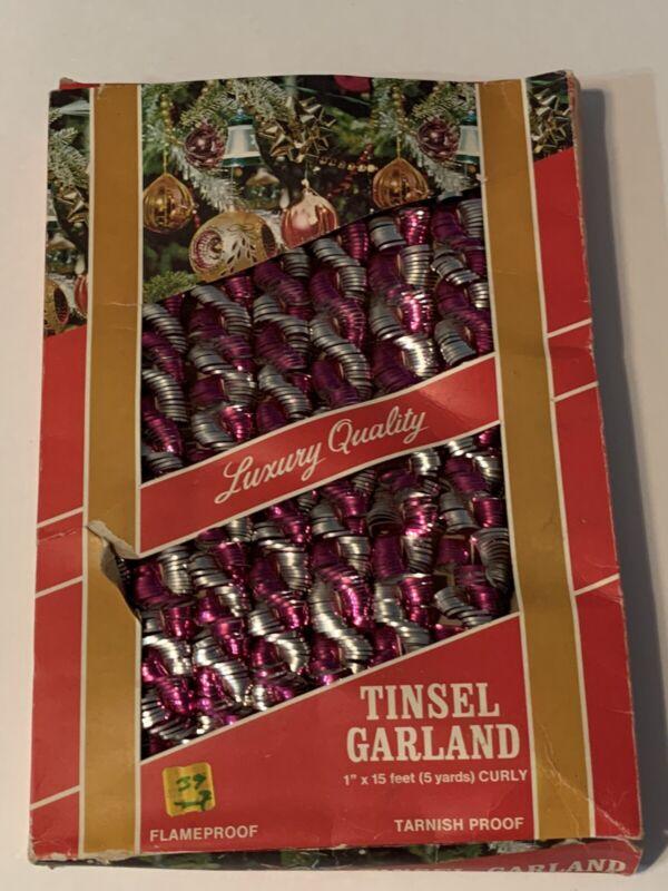 Vintage Christmas Pink Twisted Metalic Tree Tinsel Garland