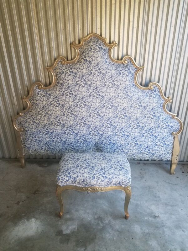 QUEEN Vintage Artisan Style Carved Wood Hollywood Regency Blue Fabric with Stool