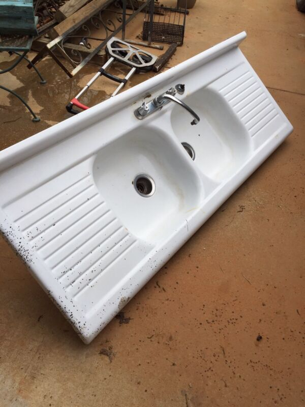 Antique Iron Porcelain Double Sink Drainboard Deep Basin Farmhouse Kitchen Sink