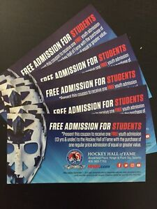 Hockey Hall of Fame Youth Tickets for sale x5