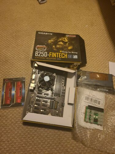 Gigabyte B250-fintech With Cpu, 8gb New Ram, Power Supply,new Breakout Board. - $80.00