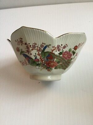 Vintage Japan Peacock Porcelain Candy Dish Jewelry Dish Bowl Flowers