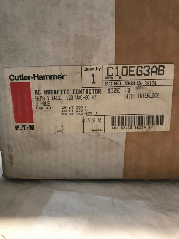 Eaton Cutler Hammer C10EG3AB AC Magnetic Contactor