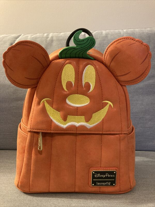 NEW Disney Parks Loungefly Halloween Pumpkin Mickey Mouse Mini Backpack 2019