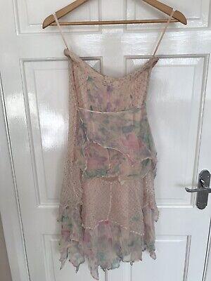 Vintage Ayesha Davar Peach Chiffon Dress Vest Shirt 3pce Indian Boho Chic Medium