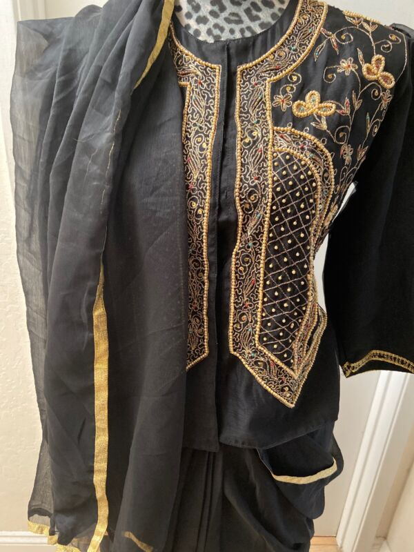 Two Three Piece Traditional Indian Beaded Embroidered Blouse & Skirt With Scarf