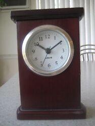 SALTON MAHOGANY desk CLOCK , gold rimmed, small 6x4x1-1/2, elegant