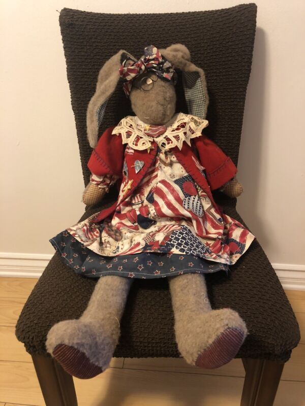 "VINTAGE 4TH OF JULY PATRIOTIC DRESSED 30"" STUFFED BUNNY"