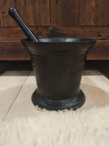 Antique, Rustic, Cast Iron Morter and Pestle