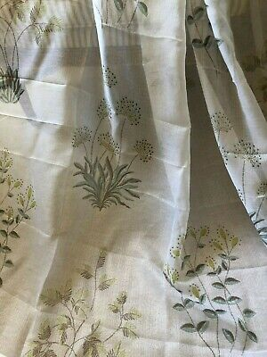 """CHARMING NEW HUGE 52""""X90"""" LAURA ASHLEY SHEER VOILE WILD FLOWER CURTAIN PANELS"""