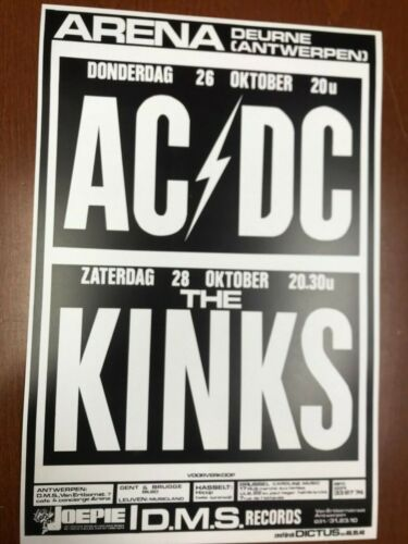 """AC/DC and Kinks 1978 Germany Cardstock Concert Poster 12""""x18"""""""