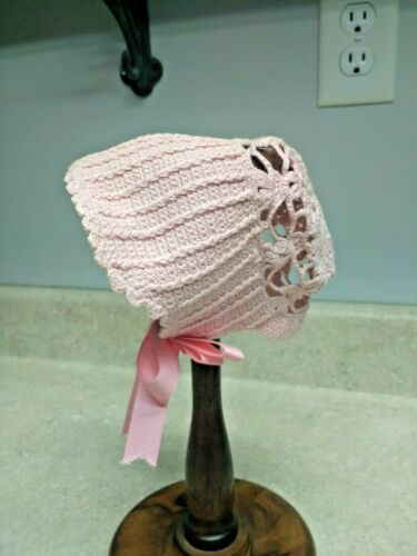 Vintage Hand Crocheted  Pink Cotton Baby Bonnet For Display or Large Doll