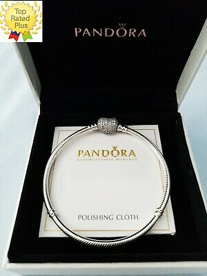 Pandora PAVE Heart Clear CZ#590727 Sterling Silver Snake Chain Bracelet ALL SIZE