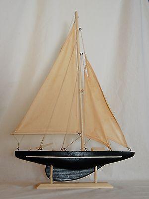 Vintage Green Wood Pond Sail Boat Model
