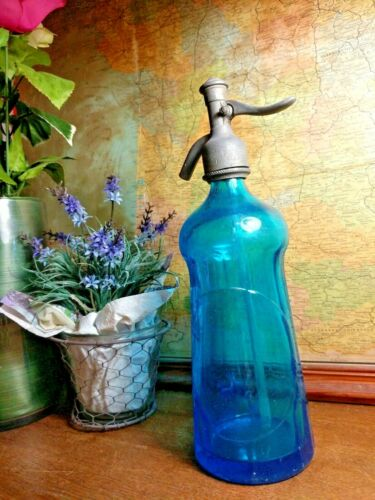 Vintage French Blue Marquis Seltzer Bottle