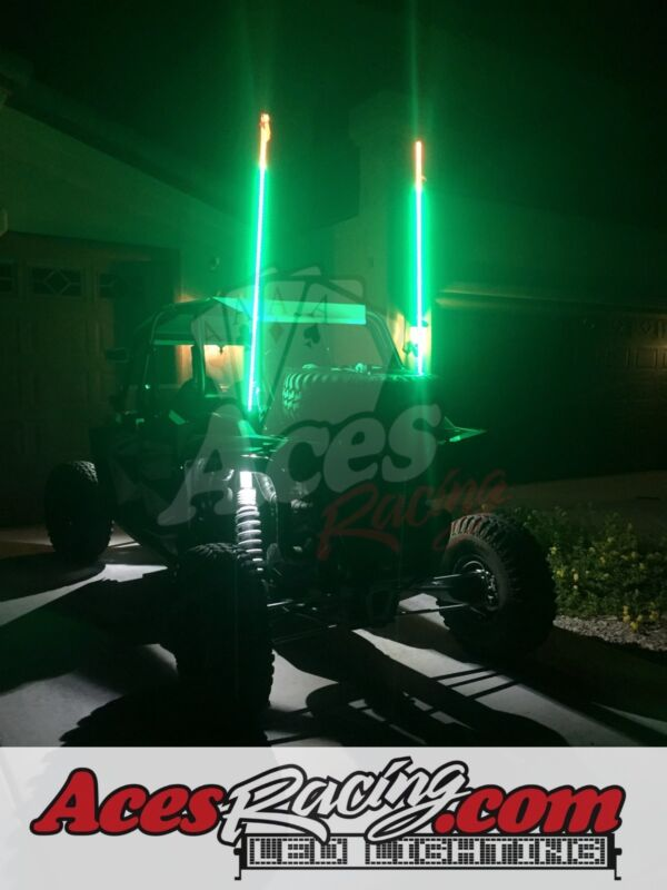 5ft Green LED Whip with Quick Connect and 1 Year Warranty RZR UTV Aces Racing