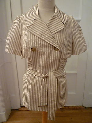 - NWT: CHAIKEN Striped, Short Sleeve, Belted Trench Jacket in Poplin Cotton, 12