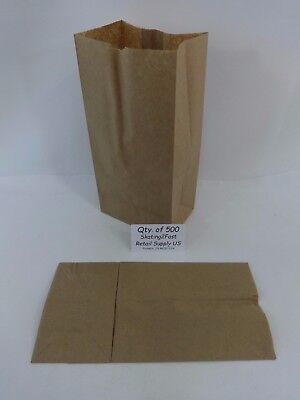 Qty 500 #4 Paper Brown Kraft Natural Sack Grocery Merchandise Retail Bags