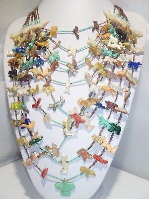 By Johnny Shika Zuni 10 Strand Fox Fetish Necklace Animals Bird Bear Frog Multi