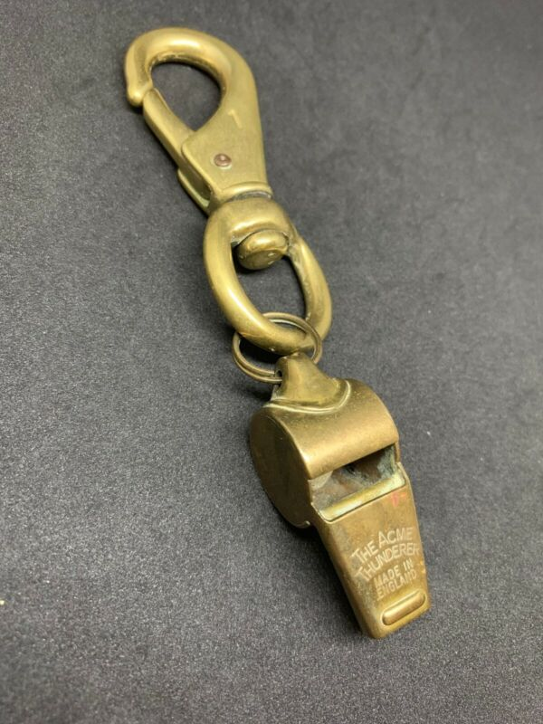 Vintage THE ACME THUNDERER Brass Whistle MADE IN ENGLAND w/ Big Carabiner