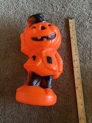 "Vintage 1969 Empire Halloween Blow Mold Scarecrow Pumpkin Jack O Lantern 14"""