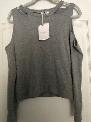 LNA Clothing Light Heather Gray Sweatshirt Top With Cutouts Cold Shoulder XS - Clothing With Lights