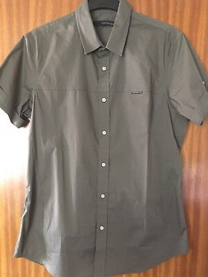 Calvin klein Shirt Men Short Sleeved Khaki Green / Grey ( Genuine )