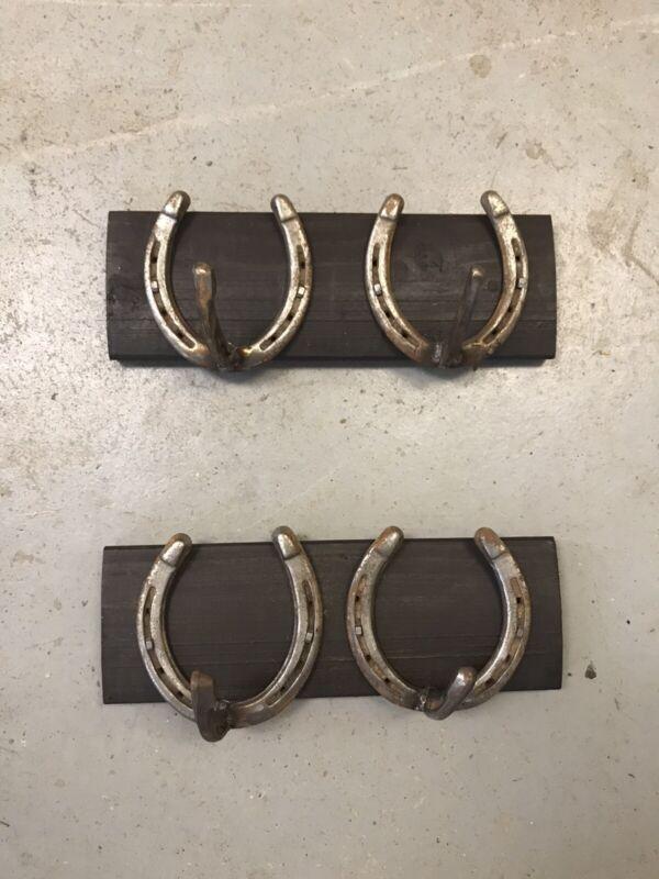 Wood Reclaimed Metal 2 Horseshoe Coat Rack 13 Inch