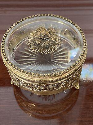 Vintage Gold Ormolu Filigree Powder Box Glass Insert, Lidded, Footed