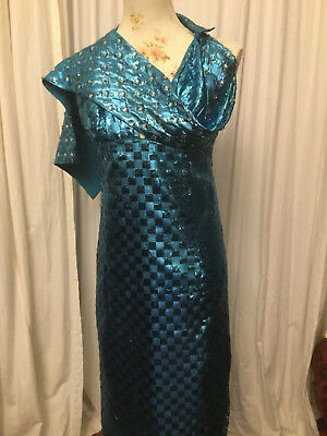 Vintage 60iger Abendkleid Bühnenkostüm metallicblau - Metallic Kleid Kostüm
