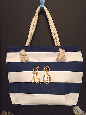 Wedding Shopping (NAVY AND WHITE BEACH TOTE BAG WEDDING SUMMER OVERNIGHT)