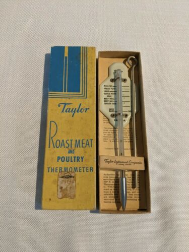 Vintage Taylor #5936 Roast Meat & Poultry Thermometer 1950s in Original Box