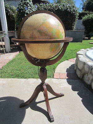 Vintage 16-inch Lighted Floor Globe Heirloom by Replogle Claw Foot Stand, used for sale  Whittier