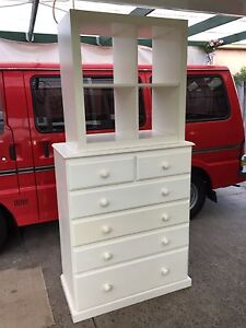 White tallboy chest of drawers cube shelves draws free delivery Springvale South Greater Dandenong Preview
