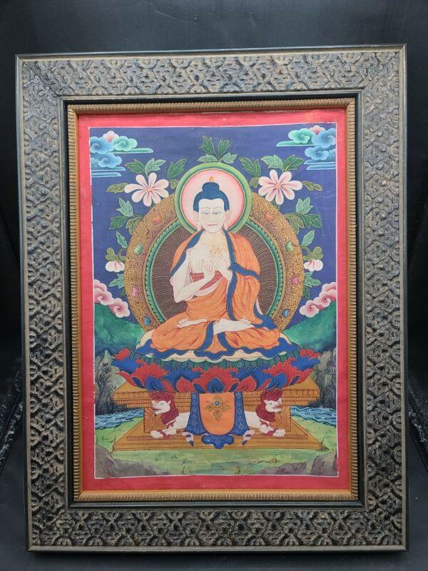 Vintage Framed Pauhba Painting Hand Painted Buddha Tibet