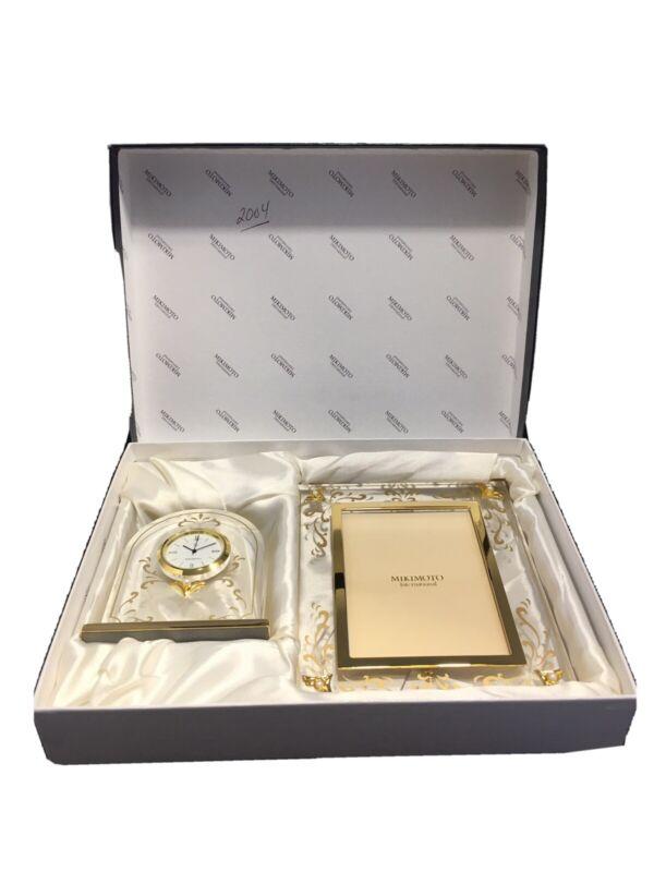 NIB MIKIMOTO INTERNATIONAL Genuine Pearl w/Gold Accents Domed Clock & Frame