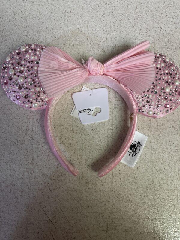 Disney Parks x BaubleBar Pink Minnie Ears Pearl Headband 2021 Millennial Crystal