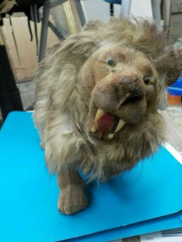 Mid Century Made in Hong Kong King of the Beast male lion suede and fur figure