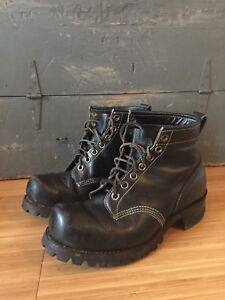 $640 DAYTON MOTORCYCLE BOOTS MENS SIZE 9.5 VINTAGE BLACK LEATHER