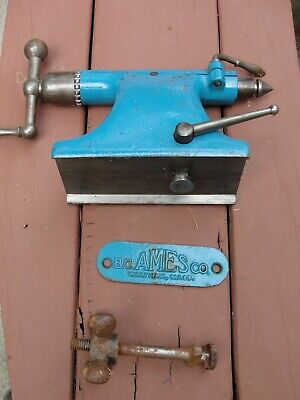 Metalworking Ames Lathe Tail Stock And Builders Plate